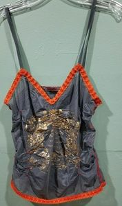 VINTAGE Parasuco grey /Gold/Orange lace Tank small